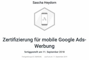 Google Zertifikat mobile Ads